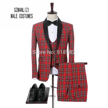 Costume Homme 2018 New Design Brand Suit Men Terno Masculino Bruiloft Men Suits Tuxedo Prom Party Suits Plaid Wedding Groom Suit