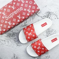 Supreme x LV 14ss Red/White SLIDE SANDALS - 35-44
