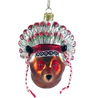 Bear Chief Glass Ornament