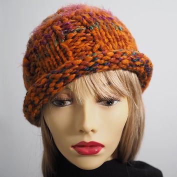 hand knit bowler hat / cloche hat  / burnt orange / chunky knit / roll brim / crochet hat / autumn hat  / fall find / OOAK