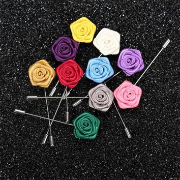 JINSE 5Pcs Mens Suit Pin Rose Bud Lapel Pin Mini Rose Lapel Flower Groomsman Gifts 19 Colors MD025