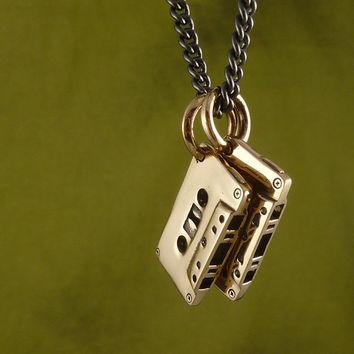 "Cassette Necklace Bronze Cassettes Pendant on 24"" Gunmetal Chain - Mix Tape Jewelry"