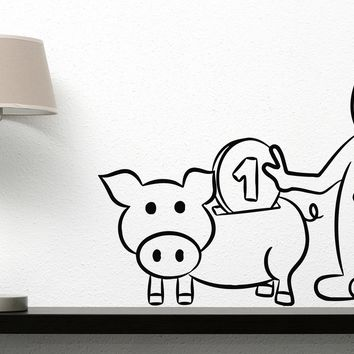 Vinyl Decal Wall Sticker Pig Piggy Bank Dollar Euro Money Coins  Unique Gift (n448)