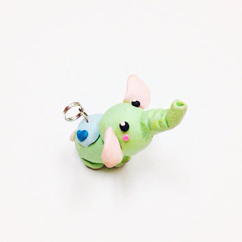 Kawaii pastel green elephant polymer clay charm, makes a cute pendant for a necklace, key chain or birthday gift for girls
