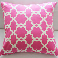 Pink & Cream Cotton Pillow Slipcover 18x18 Premium Fabric Trellis Pattern