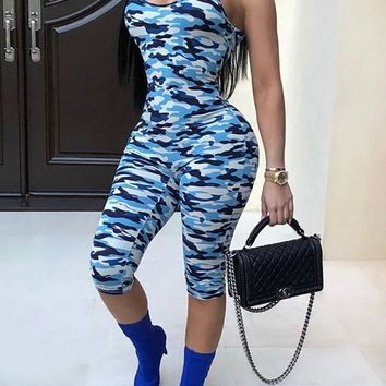Blue Camo Print Spaghetti Strap High Waisted Bodycon Clubwear Party Cargo Seven's Jumpsuit