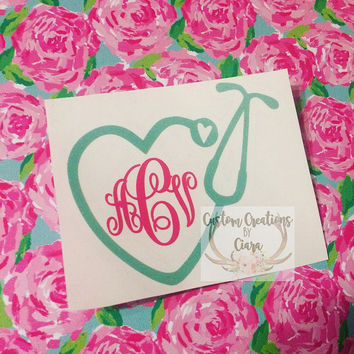 Monogram Nurse Decal Medical Stethoscope Dr Healthcare - Perfect for Yeti, Laptop, Car, Binder, Tumbler, And More!! Stethoscope With Heart