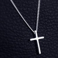 925 sterling silver cross necklace ,personalized fashion cross necklace,a perfect gift