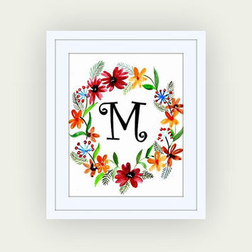 Printable monogram letter,M, red  yellow floral wall art, baby boy girl Name initial, print custom, personal letters, Nursery decor, digital