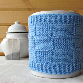 Blue Coffee Cup Cozy, Knitted Mug Cozy, Mother's Day Gift, Cup Sleeve, Big Mug Cosy, Coffee Cup Holder, Coffee Holder, Mug Sweater, Cup Cosy