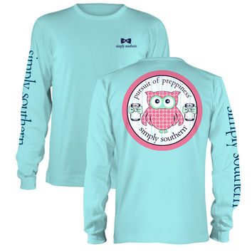 Simply Southern Preppy Owl Mason Jar Bow Long Sleeve T-Shirt