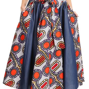 Sakkas Dayo Circle Mid Skirt with Elastic Waist Colorful Ankara African Wax Dutch
