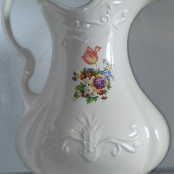 Vintage Ironstone Water Pitcher 1890 England White Ceramic Flower Design Vase