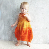 Nuno felted baby dress orange pumpkin soft for party by Baymut