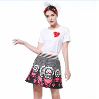Heart Graphic Short-Sleeve Top with Vintage Floral Print Skirt