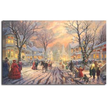 A Victorian Christmas Carol Thomas Kinkade Canvas Posters Prints Wall Art Oil Painting Decorative Picture Modern Home Decoration