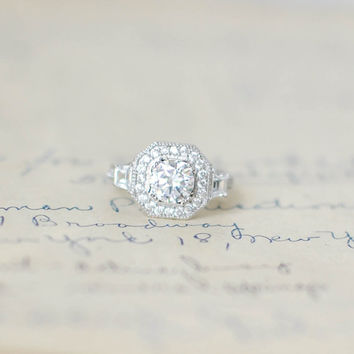 Cubic Zirconia Ring -  Sterling Silver Ring - Vintage Engagement Ring - Halo Wedding Ring - Silver Art Deco Ring - Antique Ring - Round Ring
