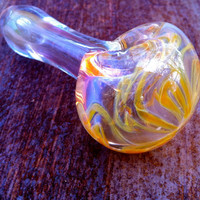 Color Changing Glass Pipe with Amber Flower