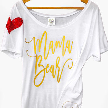 Mama Bear T Shirt Women. Mothers Day Gift. I Wear My Heart on My Sleeve. Sequin Mama Bear Momma Bear. Pregnancy Announcement. New Mom Gift.