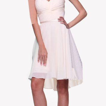 Short Twisted Bodice Chiffon Off White Bridesmaid Dress Strapless