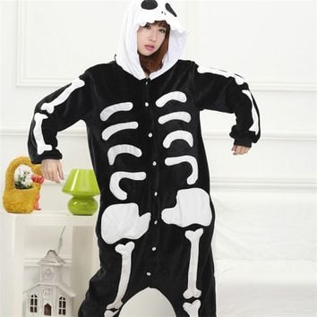 Skull Kigurumi Onesuit Adult Women Scary Skeleton Pajamas Flannel Warm Loose Soft Sleepwear Onepiece Winter Jumpsuit Cosplay