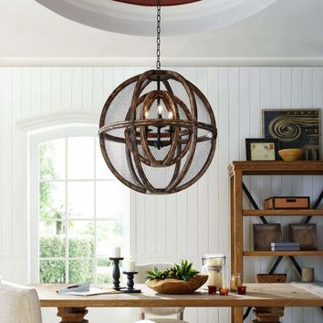Gravitate Globe Rustic Oak Wood Pendant Light Chandelier - EEI-3271