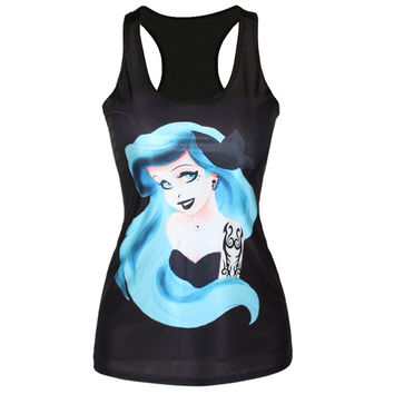 Women T Shirt Summer 3D Vests Little Mermaid Cartoon Pretty Girl Vest Ariel Creative Print Camisole Sexy Fashion Punk Tank Tops