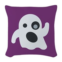 ghost emojis Woven Throw Pillow