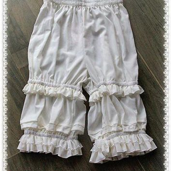 DKLW8 Branded Classic White Lolita Shorts Ruffled Lolita Bloomers by Infanta