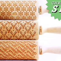 SET OF 3 Christmas / WINTER rolling pin - Embossing rolling pins, laser engraved rolling pins. Snowflake, reindeer, Merry Christmas.