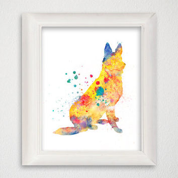Watercolor German Shepherd, German Shepherd Print, German Shepherd Painting, German Shepherd Poster, German Shepherd Wall Decor, Dog Print
