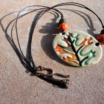 Fall Leaf Statement Oval Necklace, Boho Jewelry, Hand crafted ceramic pottery pendant, Botanical, orange, brown and green,