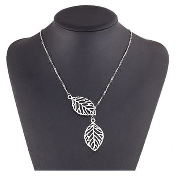 Two Leaves Pendant Clavicle Necklaces For Women