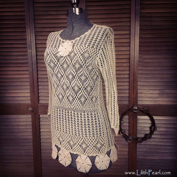 Crocheted Shirt Dress Upcycled with Romantic Bohemian Style / Swimsuit Cover up / OOAK