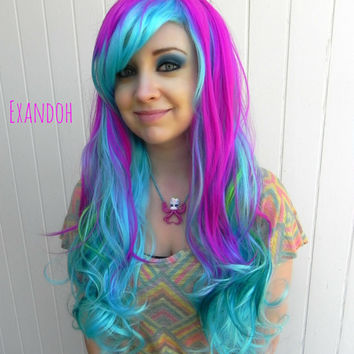ON SALE // Purple, Blue, Teal Green / Long Curly Layered Wig Full Thick Bouncy