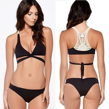 Cross black Front Lace Brazilian Swimwear Swimsuit Bandage Hollow out Crochet  Bikini