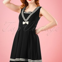 50s Sailors Ruin Dress in Black
