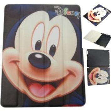 Disney Mickey Mouse iPad 2/3/4 Smart Cover with Sleep/Wake Function and Back Case Gift Set with Mickey Mouse Dog Tag! (Mickey Smart Case iPad 2/3/4)