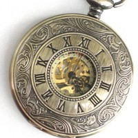 Steampunk - DELUXE ROMAN TIMES - Pocket Watch - Mechanical - Large - Skeleton Style - Necklace -Ant...