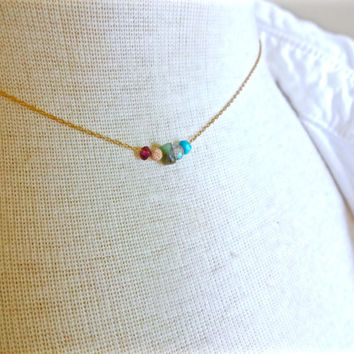 Micro Floating Gemstone Necklace; Modern Deconstructed Layering Necklace; Tuquoise Labradorite & Garnet Necklace; Unique Pride Necklace