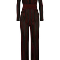 Balmain - Striped stretch-knit jumpsuit
