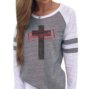 Paid In Full Cross Women's Baseball Jersey Christian Semi-Fitted Long Sleeve Shirt