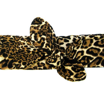 Leopard Dolly Bow Headband Bandana Hair Accessory Head Wrap Hairwrap Hairband Black Brown Camel Gift Idea Ready To Ship