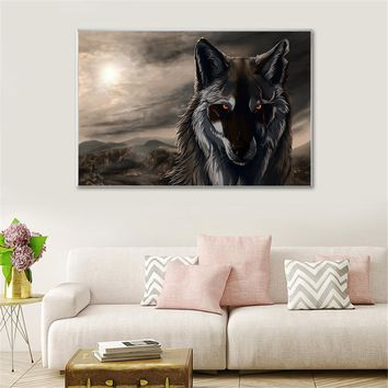 Home Decor White Wolf Painting Wall Pictures for Living Room Decoration Posters and Prints Cuadros Decoracion Salon Wall Art