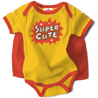 "Girls ""I'm Super Cute"" Snapsuit with Cape"