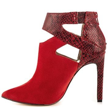 Luichiny Red FX Snake Pointy Toe Cut Out Ankle Bootie High Heel Shoe