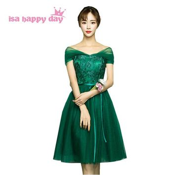 green bridesmaid party knee length dresses for special occasions under 100 girls brides maid dress 2017 for wedding H4023