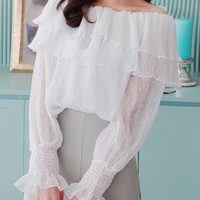 Can Shoulder Line Blouse