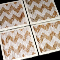 Tile Coasters- Coasters- Rustic Coaster- White Chevron Coaster- Home Decor- Chevron Distressed Wood Printed Tile Coasters- Set of 4