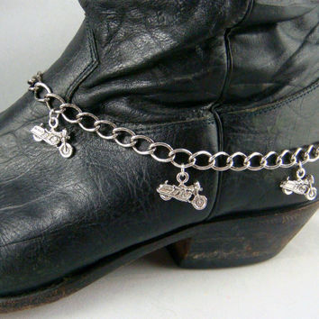 Boot Bracelet ~ Boot Bling ~ Bracelets for Boots ~ Motorcycle Boot Bling - Boot Jewelry - Heavy Link Chain and Motorcycle Charms